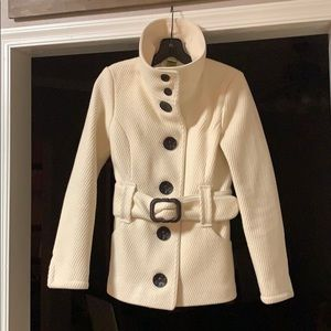 Soia & Kyo Belted Wool Coat - XS - Ivory/Cream